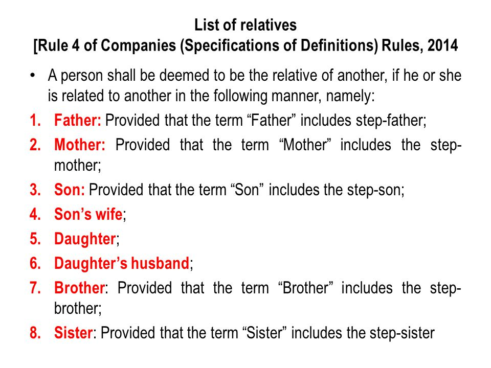 List of relatives [Rule 4 of Companies (Specifications of Definitions) Rules, 2014